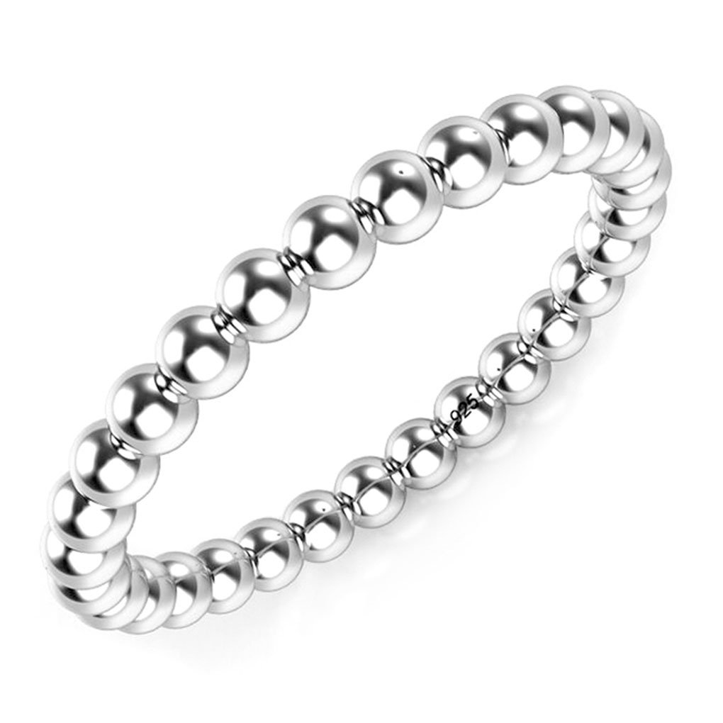 Metal Factory Sz 8 Sterling Silver 2MM Eternity Bead Wedding Band Ring