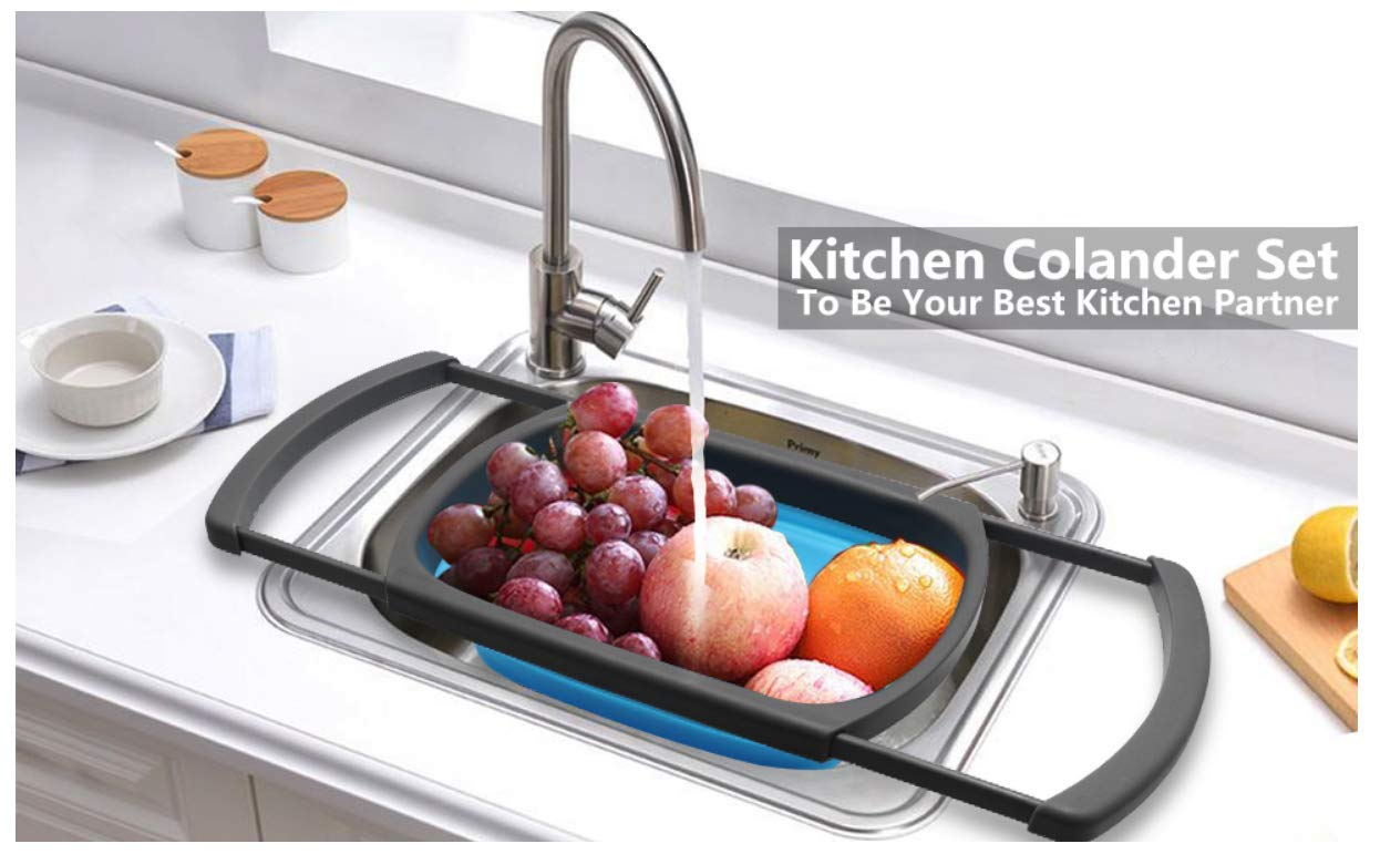 Fruits and vegetables are being washed under tap,a great kitchen tool.