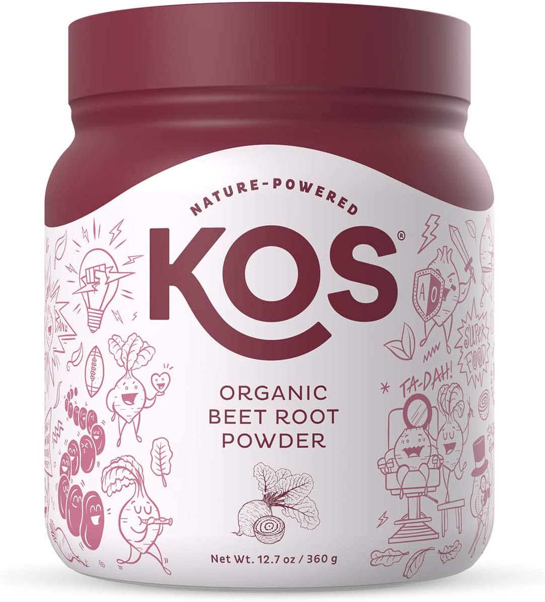 KOS Organic Beet Root Powder - Natural Nitric Oxide Boosting Beet Root Powder - USDA Organic, Stamina Increasing, Circulation Superfood Plant Based Ingredient, 360g, 90 Servings