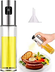 Olive Oil Sprayer for Cooking, Oil Dispenser Mister Oil Spray Bottle for Kitchen Air Fryer BBQ Salad Baking Roasting Grilling 100ml (3.4-Ounce)