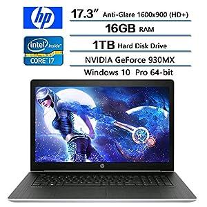"""2018 HP Flagship ProBook 470 G5 Notebook PC, 17.3"""" Anti-Glare HD+ Display, Intel Core i7-8550U 1.8GHz, 1TB HDD, 16GB DDR4 SDRAM, NVIDIA GeForce 930MX, Win 10 pro"""