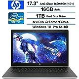 HP ProBook 470 G5 Notebook PC, 17.3 Anti-Glare HD+ Display, Intel Core i7-8550U 1.8GHz, 16GB DDR4 SDRAM, 1TB HDD, NVIDIA GeForce 930MX, Win 10 pro