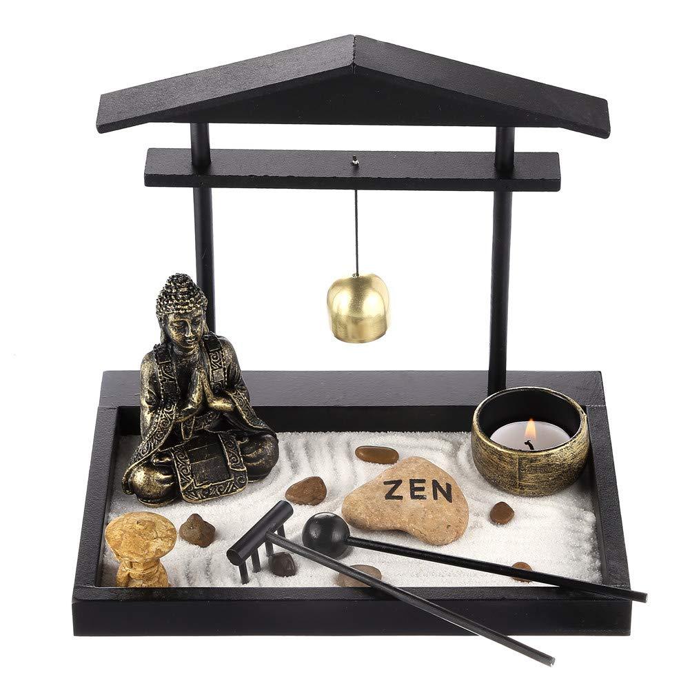 Prime Feng Shui Zen Garden Buddha Figures Mini Bell Archway Garden Kit with Sand Rocks Rake Tower Candle Holder Best Gift(Black)