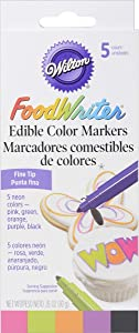Wilton FoodWriter Neon Colored Edible Markers, 5-Piece