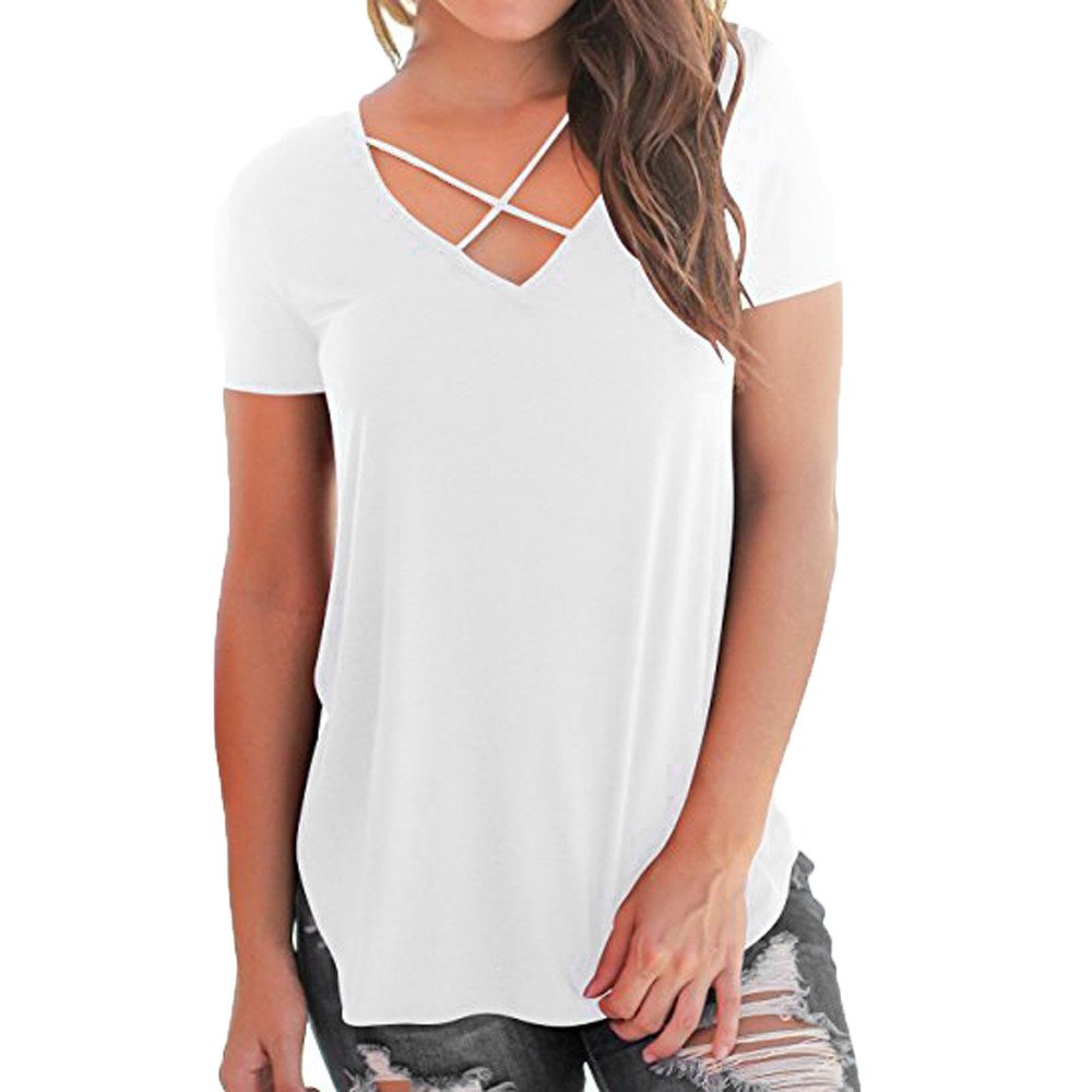 Kaitobe Womens Tops Short Sleeve V-Neck T-Shirts Solid Criss Cross Front Casual Tunic Blouse Tops Shirt for Teen Girls White
