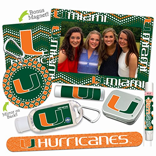 Miami Hurricanes—DELUXE Variety Set (Nail File, Mint Tin, Mini Mirror, Magnet Frame, Lip Shimmer, Lip Balm, Sanitizer). NCAA gifts, stocking stuffers. Only from Worthy.