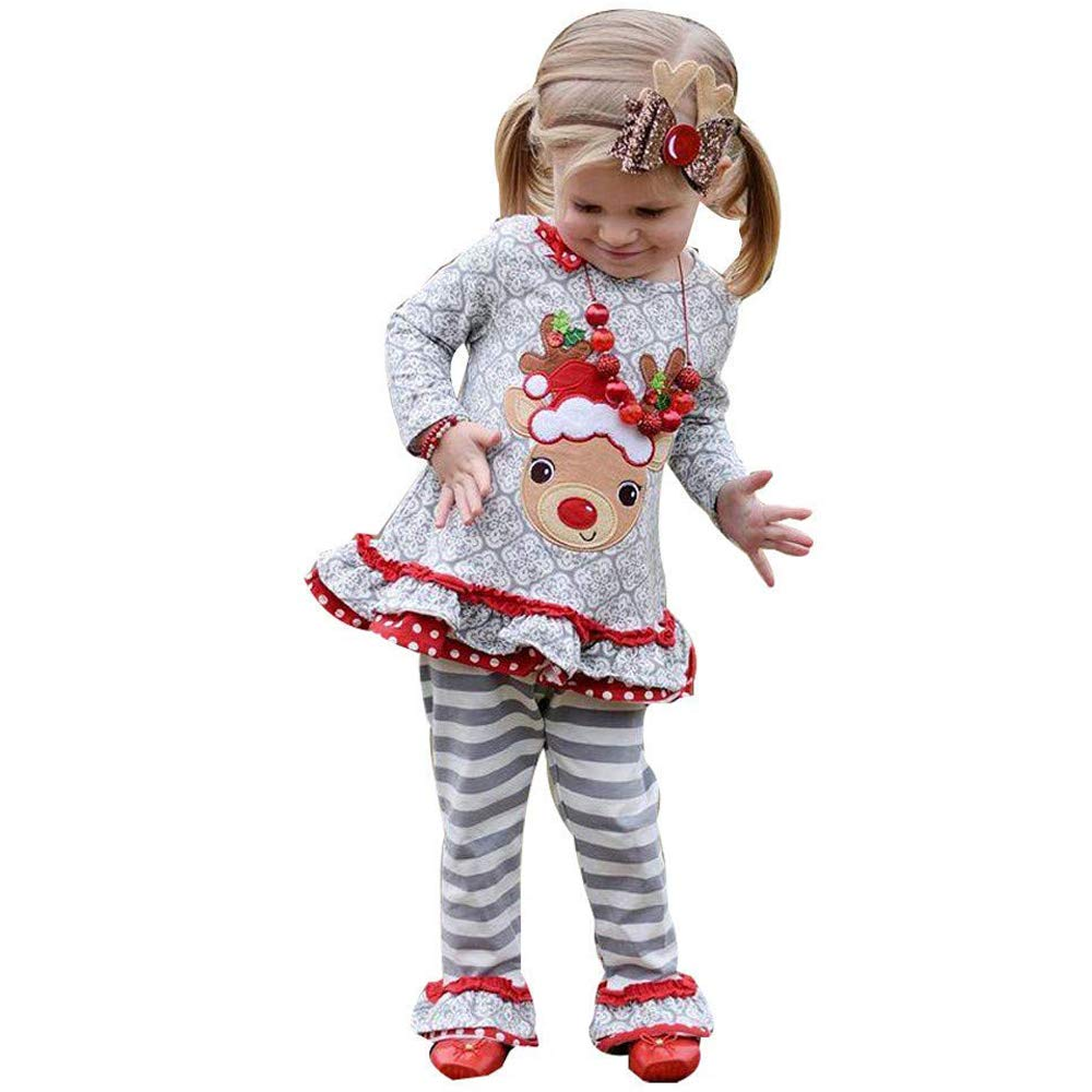 85667100ac54b Cute Toddler Kids Baby Girl Deer Ruffle T-Shirt Tops+Stripe Flare Pants  Outfits Sets