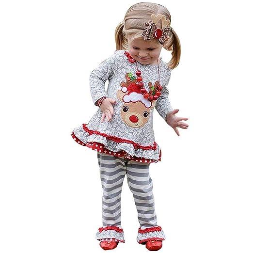 d406ac634 Amazon.com  Cute Toddler Kids Baby Girl Deer Ruffle T-Shirt Tops+ ...