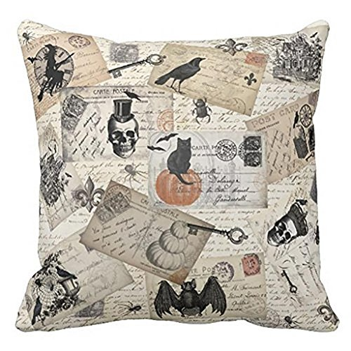 Toplano Vintage Halloween Pumpkin and Crow Cotton Linen Throw Pillow Case Cushion Cover Pillowslip 18