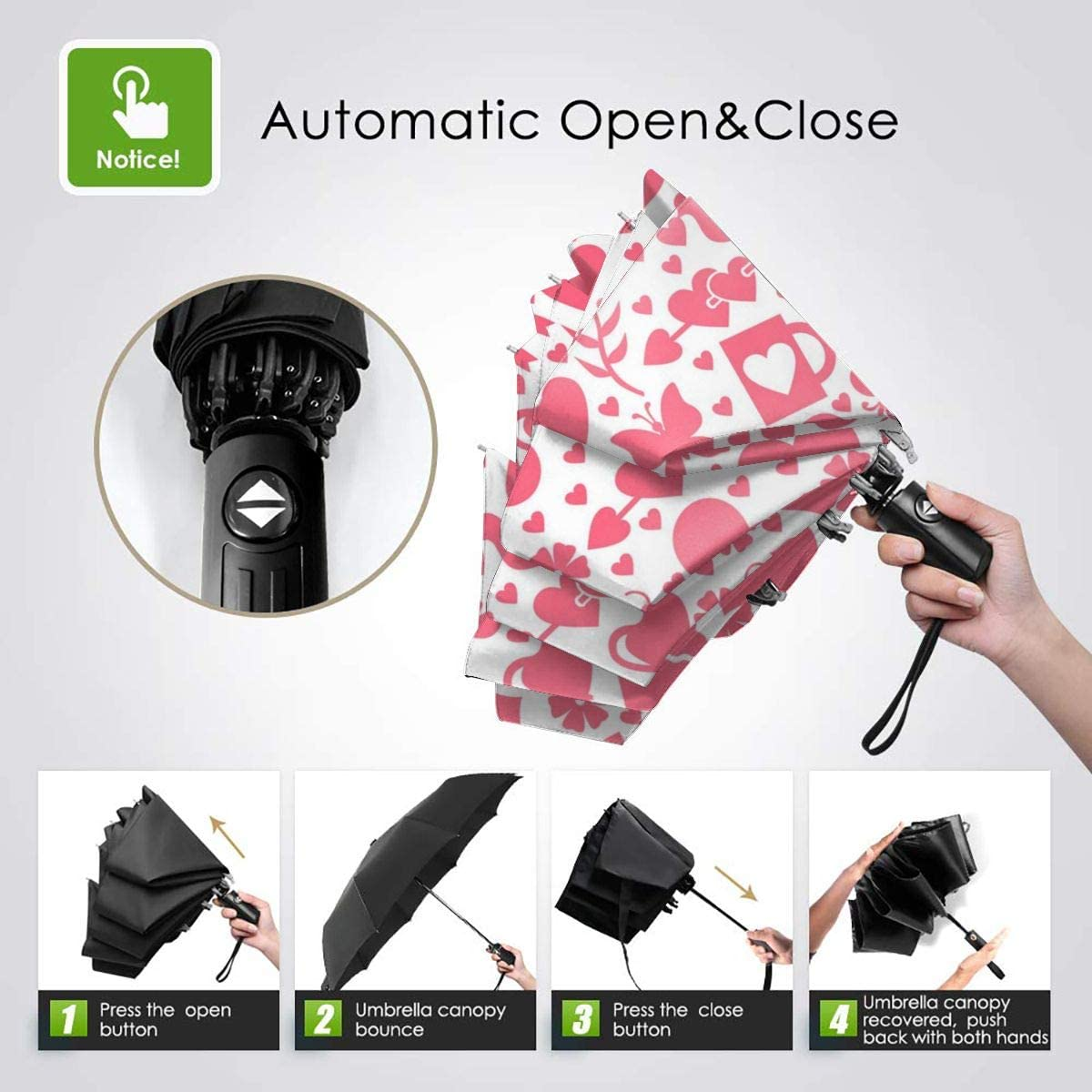 Valentine Day Seamless Vector Image Compact Travel Umbrella Windproof Reinforced Canopy 8 Ribs Umbrella Auto Open And Close Button Customized