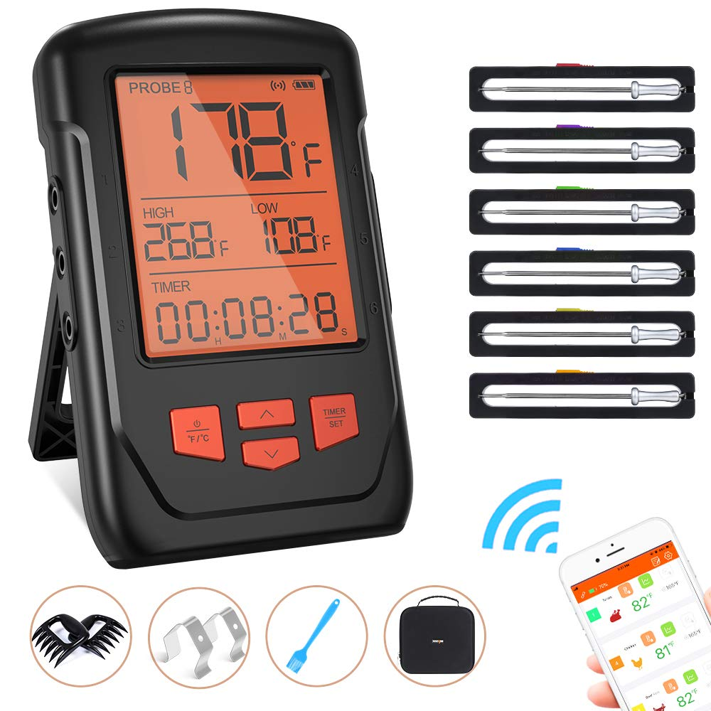 Wireless Meat Thermometer for Grilling, Bluetooth Meat Thermometer Digital BBQ Cooking Thermometer with 6 Probes, Alarm Monitor Cooking Thermometer for Barbecue Oven Kitchen, Support IOS & Android by franker