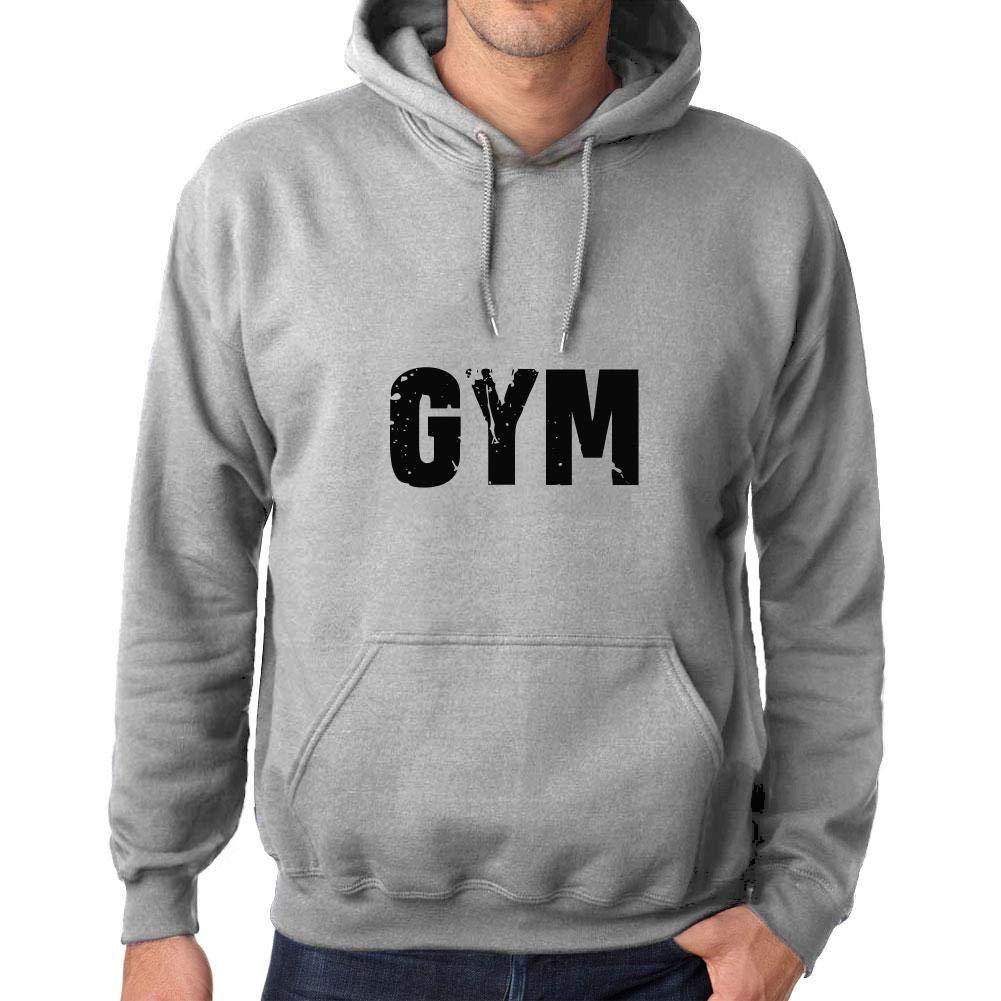 Ultrabasic Unisex Printed Graphic Cotton Hoodie Popular Words Gym Grey Marl