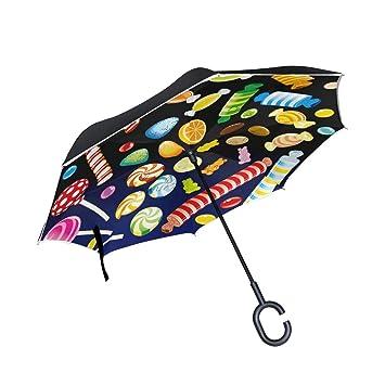 ALINLO Paraguas invertido Halloween, Colorido, Doble Capa, Paraguas invertido, Resistente al Agua