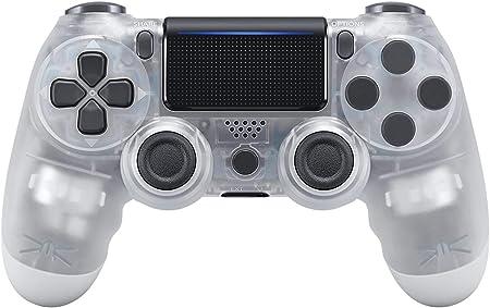 Oferta amazon: Mando Inalámbrico para PS4, Mando Inalámbrico Gamepad Doble Vibración Seis Ejes Mando Game Compatible con Playstation 4/PS4 Slim/PS4 Pro(Blanco Transparente)