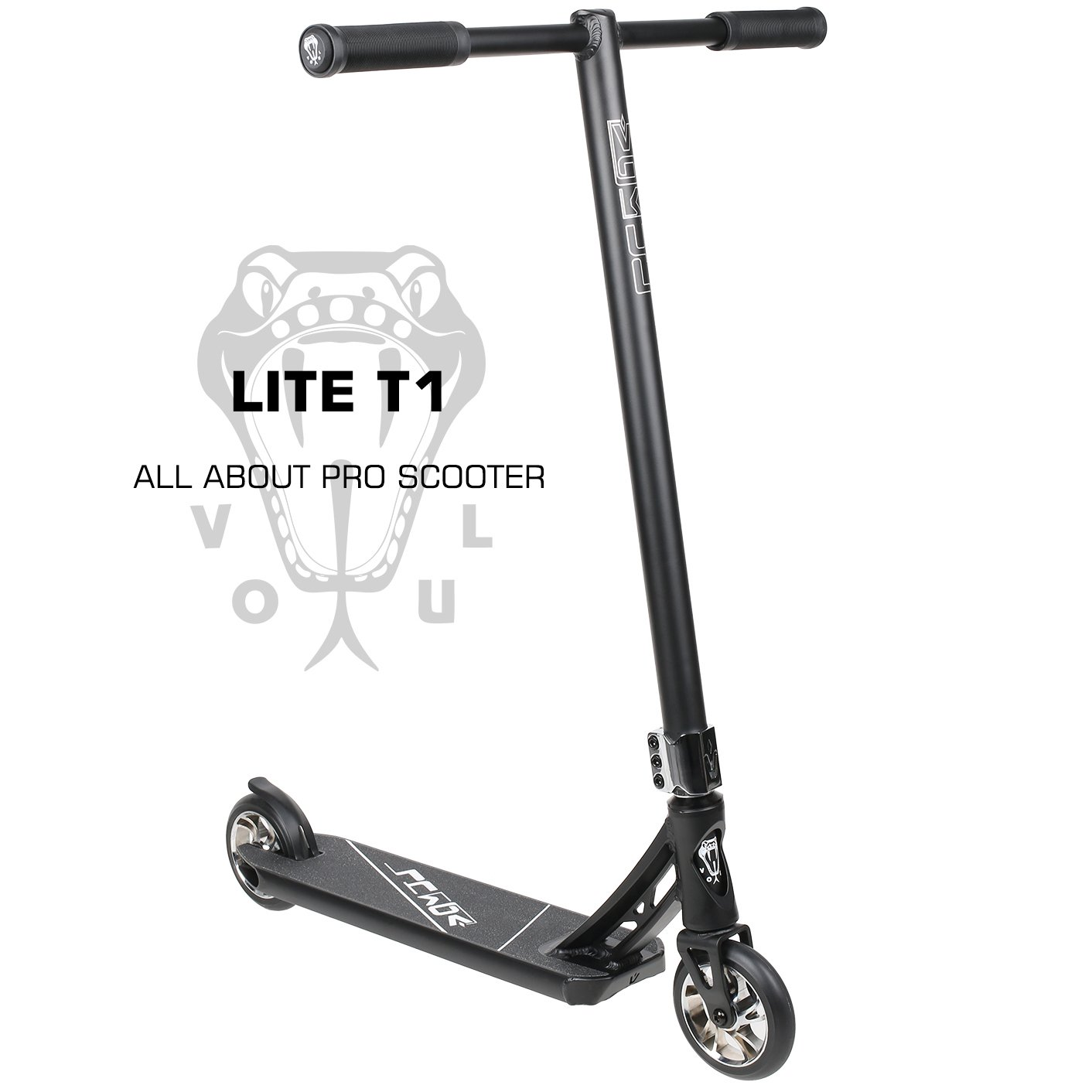 VOKUL LITE Series Complete Pro Stunt Scooter for Kids/Teens, with Reinforced Frame -Lightweight Aluminum Handlebars and 120mm Metal Core Wheels (Black)