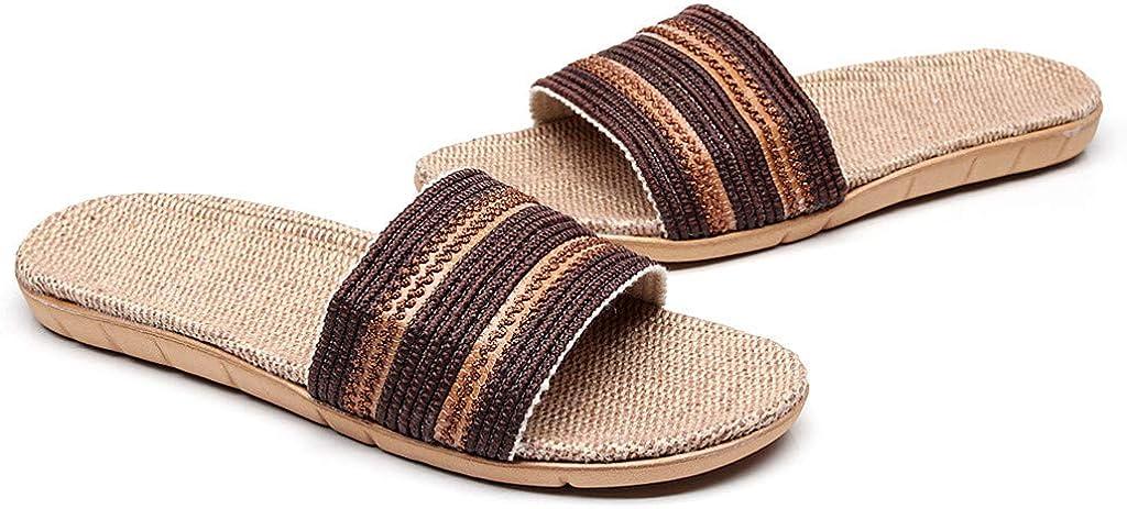 Summer Antislip Open-Toe Flax Slippers Flat Slippers Colmkley Men Slippers