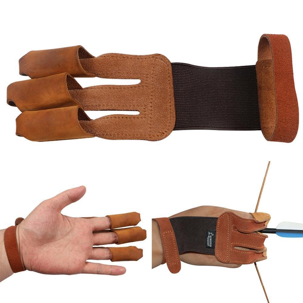 Toparchery Finger Hand Protective Gloves Leather Target Arm Guard 3 Finger Tab for Hunting Compound Recurve Bow by Toparchery (Image #1)