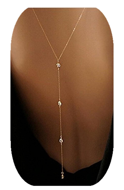 2 Styles, White Women Diamonds Bikini Necklace Body Back Chain Bear boys BB