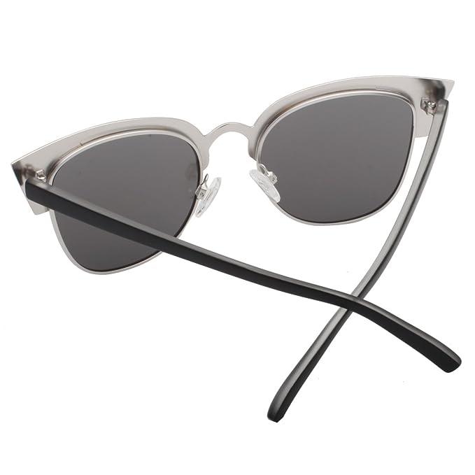 4bcf060384c Amazon.com  VIVIENFANG Women s Tip Pointed Semi-Rimless Frame Mirrored Lens  Cateye Sunglasses 86594B Black  Clothing