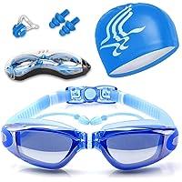 Gafas de Natación, Antiniebla Protección UV Sin Fugas Gafas Natación con Libre Clip de Nariz Enchufe de oído Gorro de…