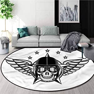 RUGSMAT Skull Rug Round Home Decor Area Rugs,Pilot with Wings Aviation Living Room,Bedroom,Desk/Chair Mats,Round Diameter-24