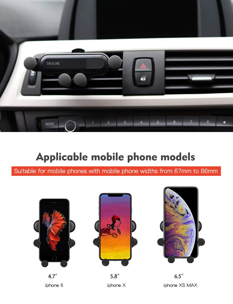 CHOGATH Universal Gravity Car Phone Holder Air Vent Mount Stand Clip for Smartphone in Car Holder for iPhone Xs MAX XS XR X Samsung S8 Silver