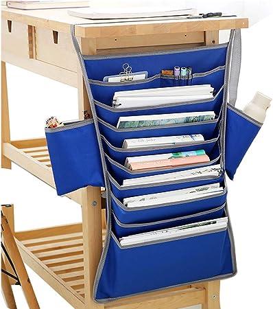 Organizador de escritorio con bolsillo, tela Oxford ajustable para estudiantes, aula, libros de texto, organizador para colgar en el escritorio Tamaño libre azul: Amazon.es: Hogar