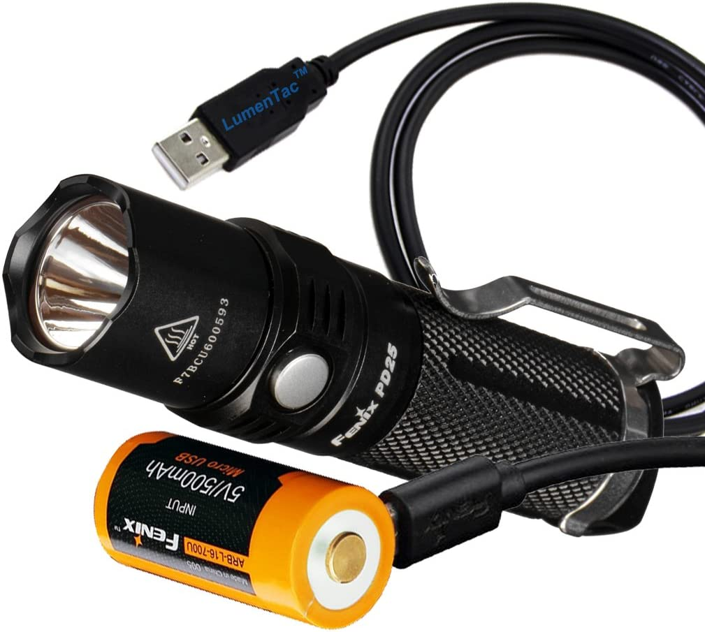 Fenix PD25 550 Lumens CREE XP-L LED Pocket Flashlight with Fenix Rechargeable Battery Built-In USB Charging Port and LumenTac Charging Cable
