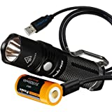 Fenix PD25 550 Lumens CREE XP-L LED Pocket Flashlight with Fenix 16340 Battery (Built-In USB Charging Port) and LumenTac Charging Cable