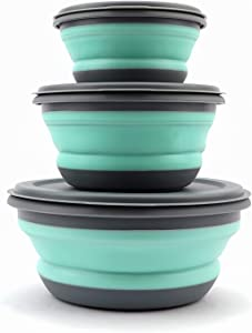 HT-direct 3 PCS Food Grade Silicone Collapsible Bowls Silicone Bowls Food Storage Containers Collapsible Camping Bowls Soup Bowls Cereal Bowls Lunch Container BPA Free Microwave and Freezer Safe
