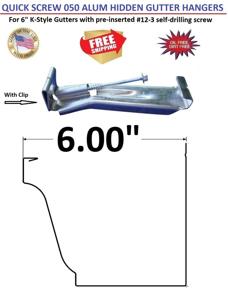 (250) 6'' Quick Screw Hanger with Clip for K-Style Gutters. With pre-inserted #12-3 self-drilling screw. Made with heavy 0.050'' Aluminum.