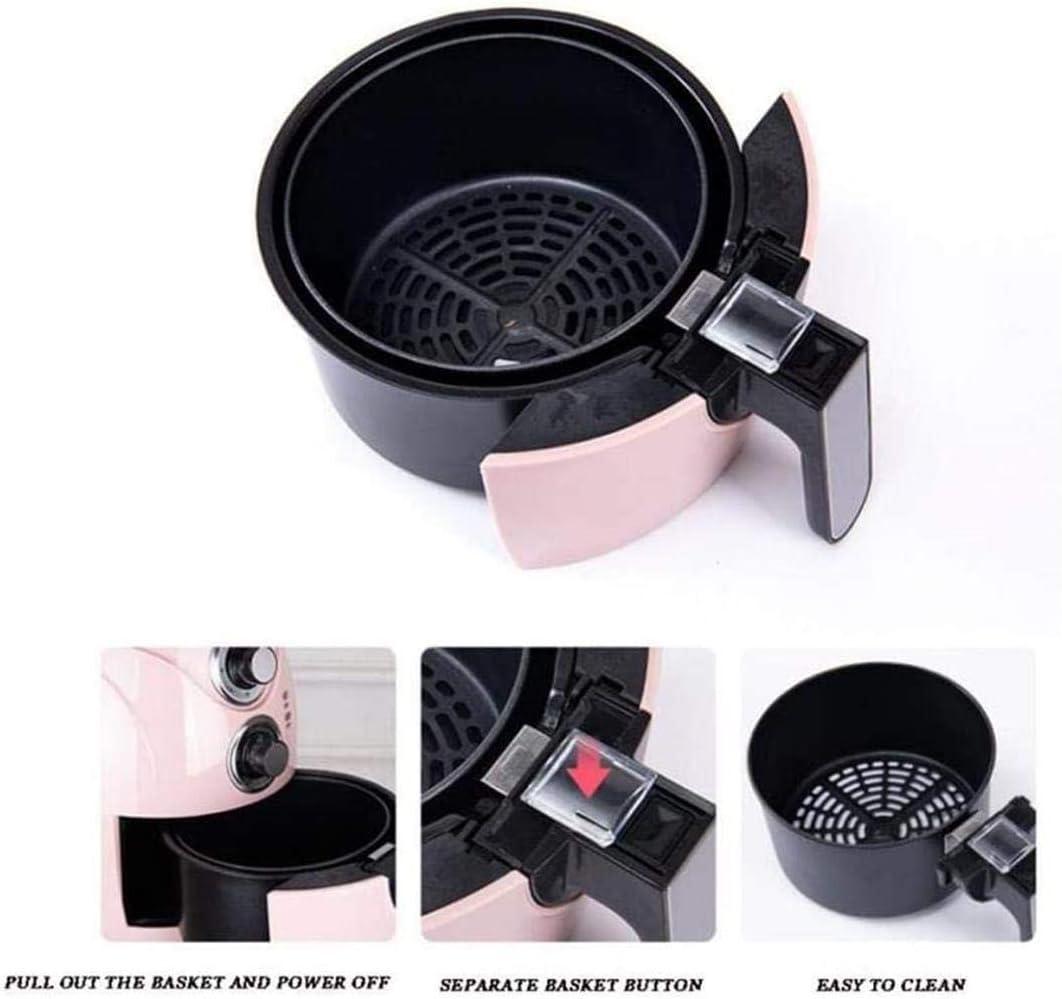 2.5 Litri Airfryer Friggitrice Low-Oil Pentola per barbecue elettrica intelligente Spegnimento Automatico,Rosa Cucina salutare 1200 W