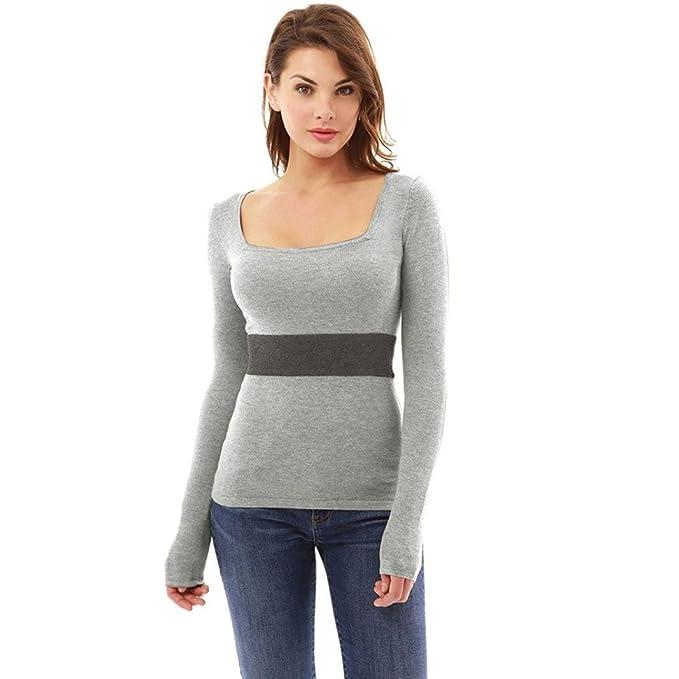 Yannerr mujer primavera U cuello apretado rayas Color de hechizo casual manga larga básica inferior camiseta
