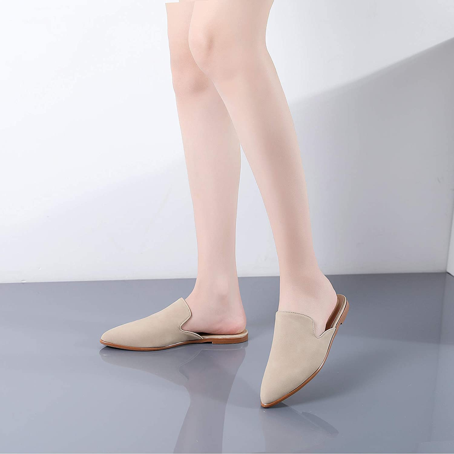 Tilocow Flat Mules for Women Closed Pointed Toe Backless Mule Sandals Comfortable Slides Mules Shoes Ladies Slip-on Loafers