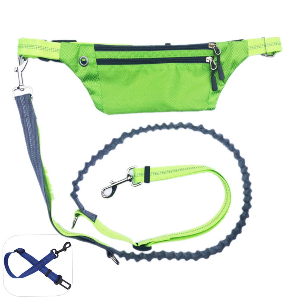 ZPEM Dog Hands Free Leads Walking Leash Running Walking Training Lead Extendible Bungee Shock Absorbing Durable Up to 50kg Dogs,Green by ZPEM