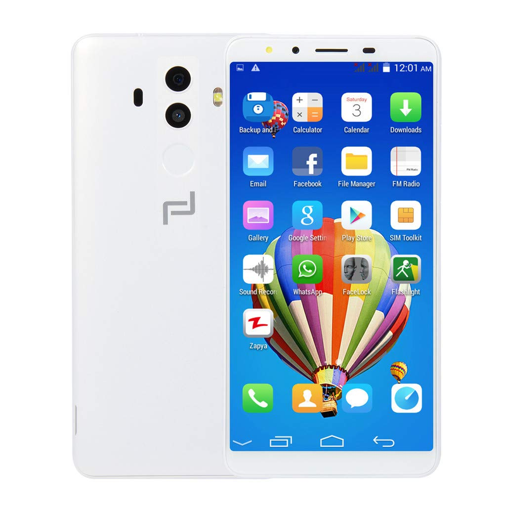 Smartphone Unlocked Cell Phones 5.7''Ultrathin Android 6.0 Dual-Core 512MB+4G GSM WiFi Dual Smart Phone (1 PC, White)