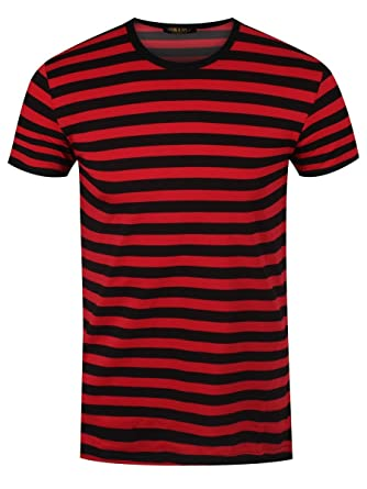 Black And Red >> Grindstore Black And Red Striped T Shirt