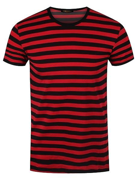 online store 6d3e8 8bc4e T-Shirt a Righe Nere e Rosse: Amazon.it: Abbigliamento
