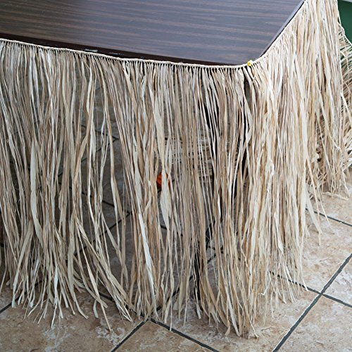 (Deluxe Natural Raffia Table Skirt (29