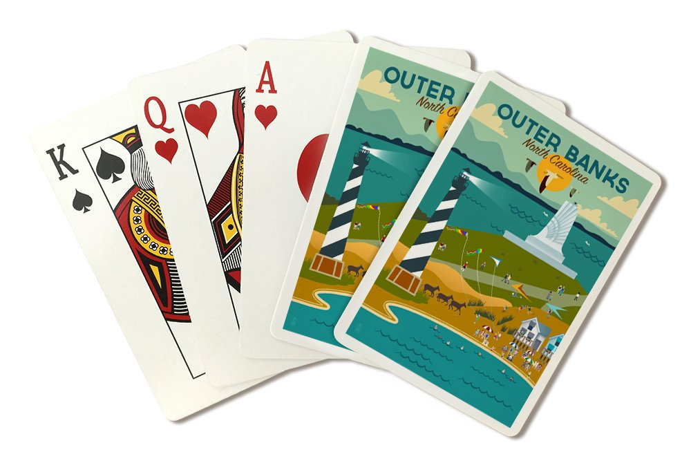 Outer Banks, North Carolina - Beach, Ocean, and Lighthouse - Geometric (Playing Card Deck - 52 Card Poker Size with Jokers)