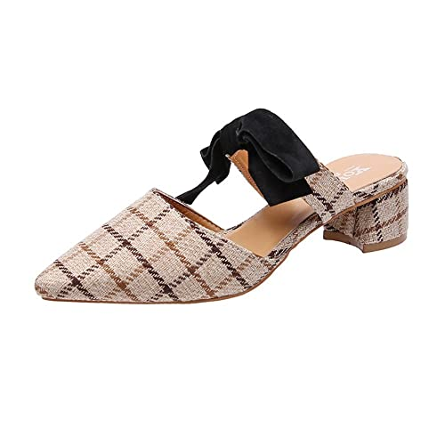 Zapatillas Corbata de moño de Verano para Mujer Zapatillas Baotou ...