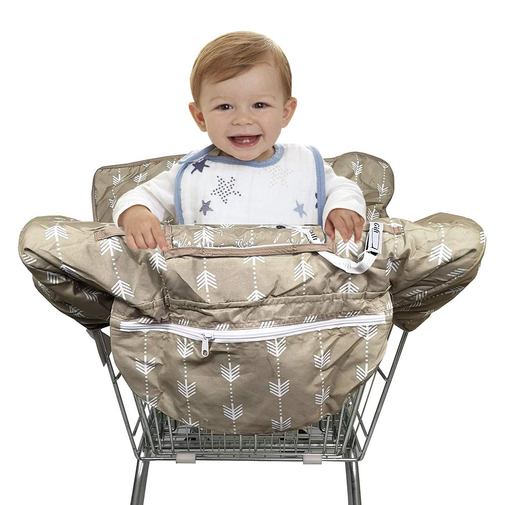 2-in-1 Shopping Cart Seat Cover Restaurant High Chair Cover for Infants Toddler and Baby- Machine Washable and Waterproof