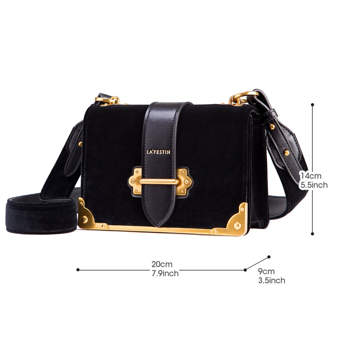 9711fcc2b8e0 Amazon.com  LA FESTIN Velvet Leather Shoulder Bag for Ladies Cross Body  Handbag Black  Shoes