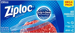 Ziploc Freezer Bags with New Grip 'n Seal Technology, Gallon, 60 Count