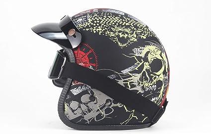 Cascos Moto Hombre Y Mujer Casco Mountain Bike Casco Harley Casco Cráneo Four Seasons,XL