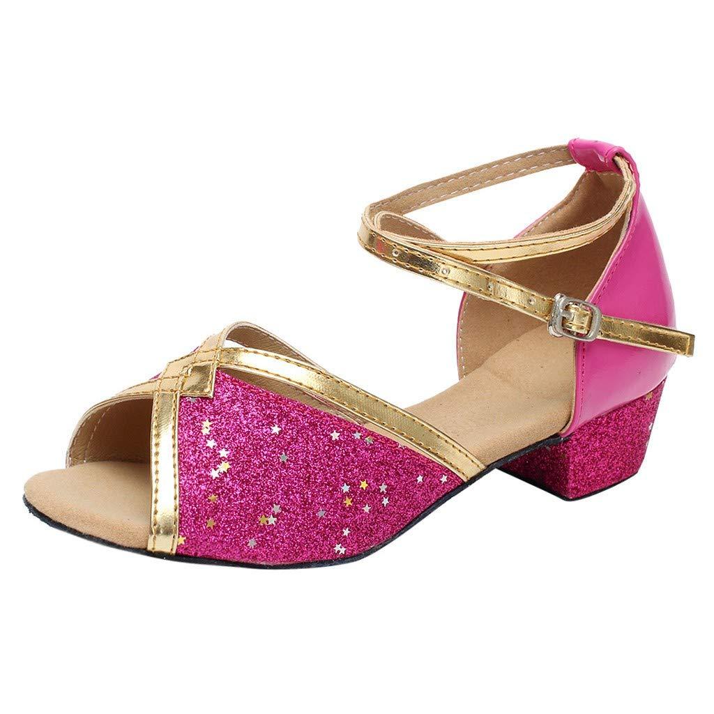 Toddler Baby Kids Girls Princess Ballroom Tango Latin Sandals Shoes Dancing Shoes Performance Training Shoes MOIKA Girls Dance Shoes for 4.5-15Years Old
