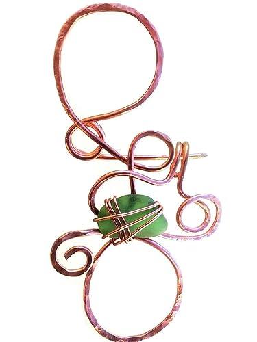 Gehämmerte Kupferdraht Schal anstecknadeln mit Draht gewickelt ...