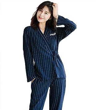 mujer algodón kimono conjunto de pijamas señoras 2 piezas suave casual a rayas ropa de dormir