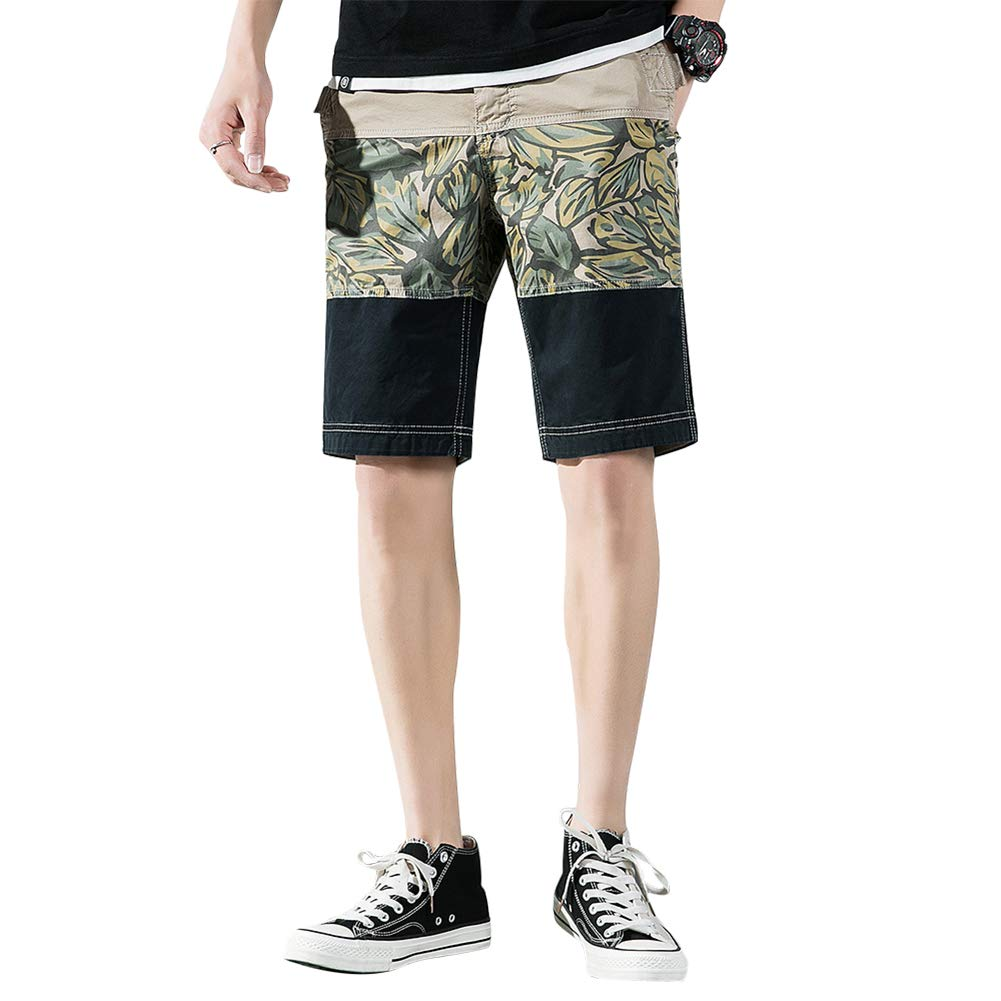Men's Casual Cargo Shorts Outdoor Stretchy Short Cotton Classic-Fit with Color Matching Khaki