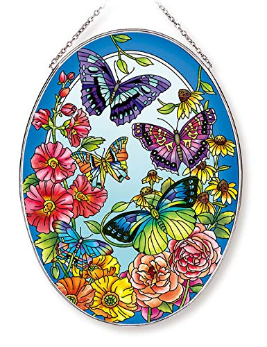 Amia Butterfly and Floral Large Oval Glass Suncatcher, 9'', Multicolor